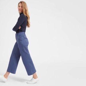 Everlane • Blue Wide Leg High Waist Crop Pants